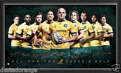 Australia Wallabies Rugby 2015 World Cup Signed Limited Edition Print Framed