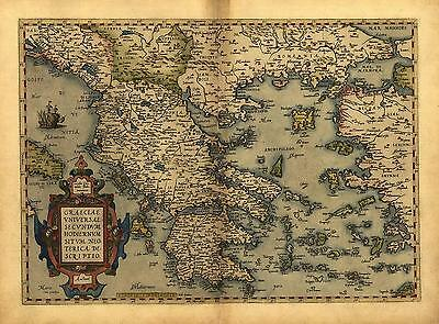 Abraham Ortelius Graeciae Greece & Greek Islands Repro Antique Old Map Poster