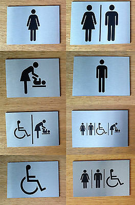 Self Adhesive Door Signs Brushed Aluminium Finish Toilet / Information Signs