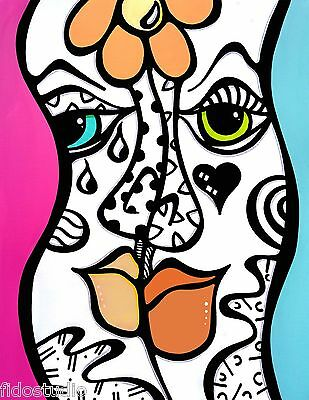 Original Abstract painting LOVE pop Modern Faces Canvas Wall Art by Fidostudio