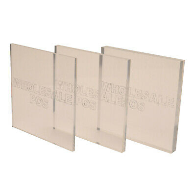 """Plastic Perspex Acrylic Panels 4"""" X 4"""" 1.5mm to 25mm Clear Sheets PMMA Squares"""