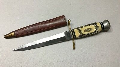 """Vintage """"PIC"""" SOLINGEN GERMANY DAGGER KNIFE STAG HANDLE With Leather Sheath"""