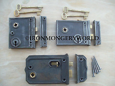 Cast Iron Old English Victorian Style Bathroom Bedroom Rim Door Lock Latch Box