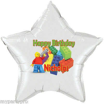Lego inspired Building Blocks Personalized Mylar Balloon Birthday party supplies