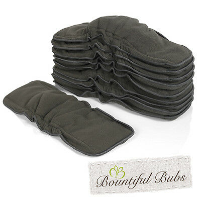 Charcoal Bamboo Boosters with Elastic x 10 - 6 Layers - Bountiful Bubs