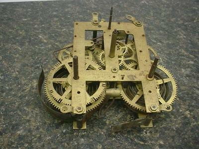 Vintage EN Welch Brass Mantle Wall Clock Kitchen Movement Time Strike Dial E070