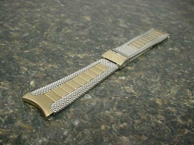 """Rare Mens Duchess Stainless Steel 5-7/8"""" Gold NOS curved End Watch Band W4249"""