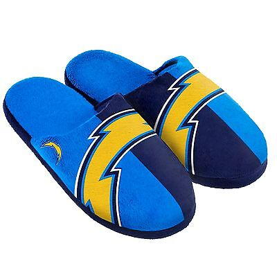 Pair San Diego Chargers Big Logo Slippers NEW - Split Color House shoes!