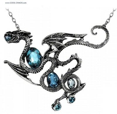 Dramatic Heirloom-Style Pewter Dragon Necklace-Aqua Swarovski Crystal Necklace