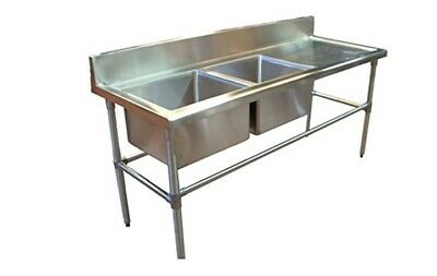 1900 x 600mm COMMERCIAL DOUBLE LEFT BOWL KITCHEN SINK STAINLESS STEEL BENCH E0