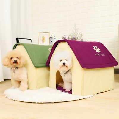 Winter Pet Dog House Kitten Kennel Soft Warm Cave Igloo Bed Puppy Cushion Mat