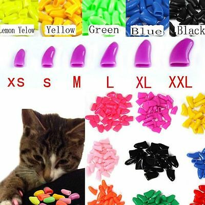 20PCS Simple Soft Rubber Pet Dog Cat Kitten Paw Claw Control Nail Caps Cover