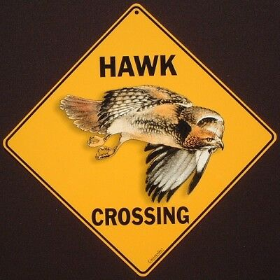 HAWK CROSSING SIGN aluminum  picture birds decor novelty  home wildlife signs