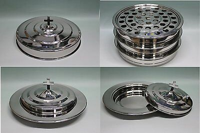 Silvertone---3 stainless steel communion trays with 1 lid and 2 bread tray set