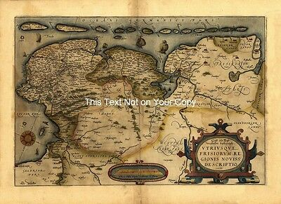Large A1 Old Ortelius Friesland West Frisia Holland Netherlands Antique Map Plan