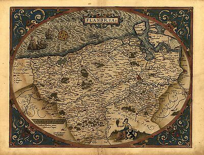 Ortelius Flandria Flanders France Belgium Antique Old Map Reproduction Poster