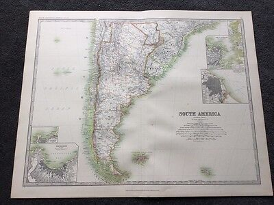 Large Map of South America Southern Sheet Genuine Antique By Keith Johnston 1898