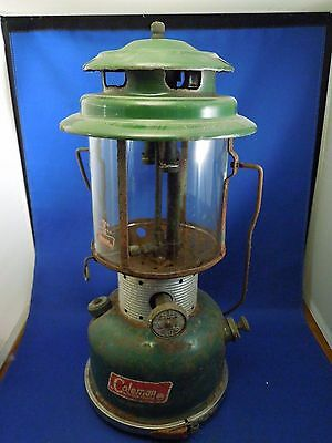 Vintage Coleman Camping Gas Lantern Model 220F with Pyrex Shade