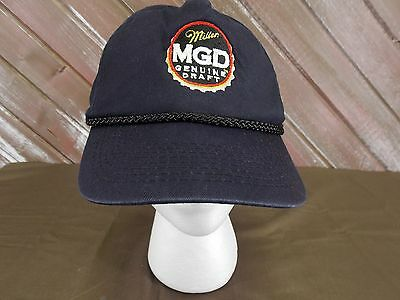Miller MGD Hat Genuine Draft Black Vintage Baseball Cap One Size Snap Back dd1527b8ae26