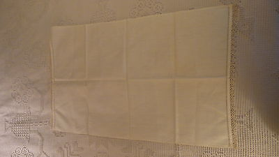 "Antique Fine Cotton GUEST TOWEL or DOILY w/ TATTED EDGE, 26 1/2""x17"""