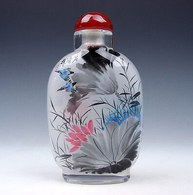 Peking Glass Inside Reverse Hand Painted LARGE Snuff Bottle Lovely Birds & Lotus