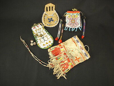 Plains and Great Lakes Native American Indian Beaded Hide and Quilled Pouches