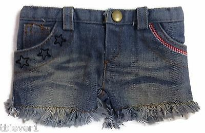 """Frayed Denim Patriotic Shorts made to fit 18"""" American Girl Doll Clothes"""