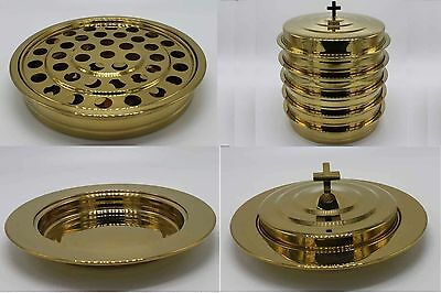 Brasstone--5 Stainless Steel communion trays with 1 lid and 3 bread tray set