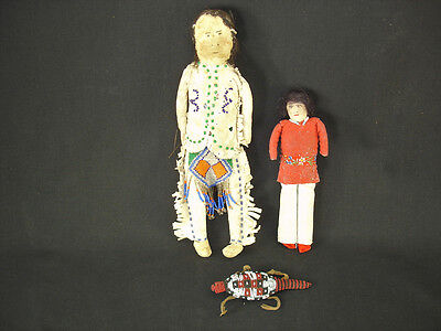 Plains and Navajo Dolls and an Umbilical Beaded Hide Fetish, Circa: 1910