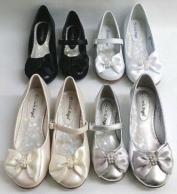 NEW Girls Little Angel Sophie730 WEDDING PAGEANT Faux Leather Satin Bowtie Shoes