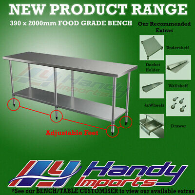 2000mm x 390mm STAINLESS STEEL #430 WORK BENCH KITCHEN FOOD PREP CATERING TABLE