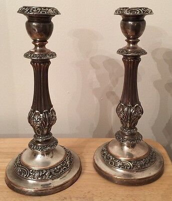 Victorian Sheffield Silver Plated Silverplated Pair Candlesticks On Copper