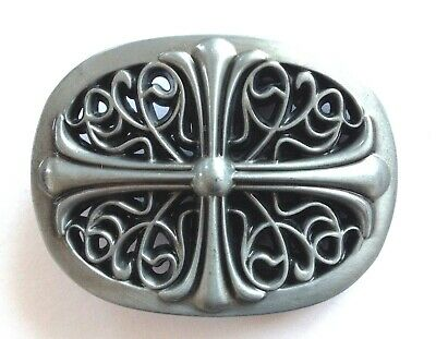 """Belt Buckle - Celtic Cross Style With Pewter Finish To Suit 1.5"""" Snap On Belt"""