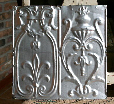 "12"" Antique Tin Ceiling Tile - Silver Paint -- Beautiful and Ornate Design -- A2"