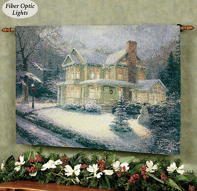Victorian Christmas III Fiber Optic Tapestry Wall Hanging ~ Thomas Kinkade