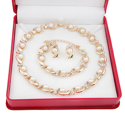 Fashion Pearl Necklace Earrings Set Rhinestone Bride Wedding Jewelry Sets