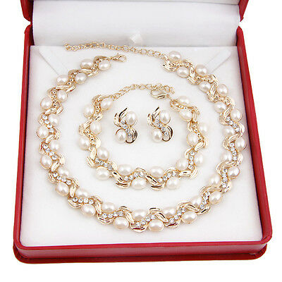 Fashion White Pearl Necklace Earring Set 18K Gold Plated Rhinestone Jewelry Sets