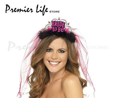 Smiffy's Bride To Be Tiara with Pink Veil