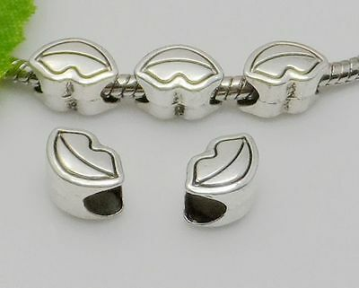 30Pcs Tibetan Silver Big Hole Flower Spacer Beads For Jewelry Making 14x19mm