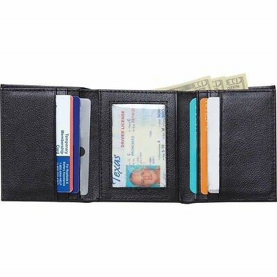 Mens Black TRIFOLD WALLET Solid Buffalo Leather Credit Card Case Window ID
