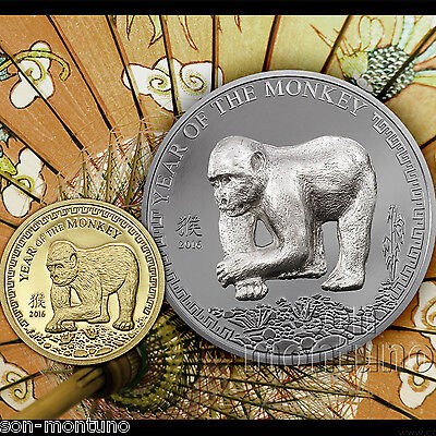 SILVER & GOLD 2 Coin Proof Set - YEAR OF THE MONKEY - 2016 Mongolia