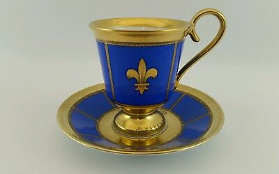 Faberge French Royal Lily 1911 Bourbon Dynasty Crest Cup Saucer Set 304/ 1500