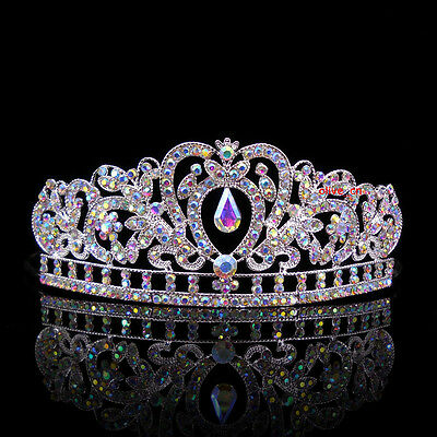 Kids AB White Heart Girl Children Wedding Prom Tiara Crown Headband - Kid Size