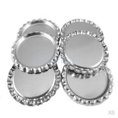 """500 Flat Flattened Linerless 1"""" Silver Chrome Tone Bottle Caps Crowns No Liners"""