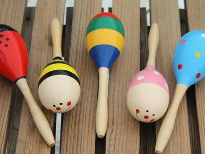 1x Colorful Wooden Handle Rattle Maraca Shaker Sand Hammer Kid Child Musical Toy