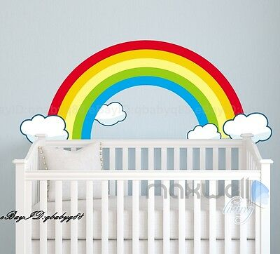 Rainbow Clouds Wall Decals Kids Sticker Children Nursery Baby Room Large Mural