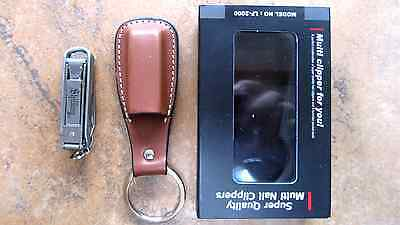 Shilling Deluxe Nail Clipper Multitool Scissors Knife File Leather Sheath Gerber