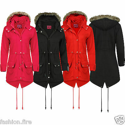 Girls Kids Parka Fleece Jacket Trench Winter Autumn Coat Hooded Faux Fur 7-13yrs