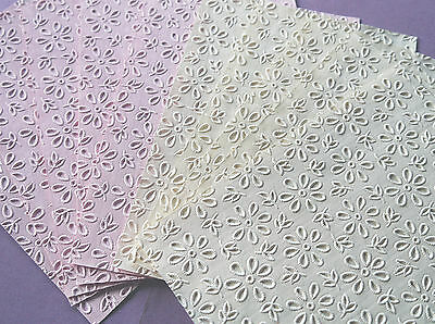 5 x Handmade Embossed Heavyweight Papers Broderie Anglaise Flowers Pink or Ivory