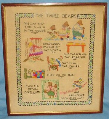 Vintage Childs Sampler Linen Fairy Tale The Three Bears Ca1900 Embroidery